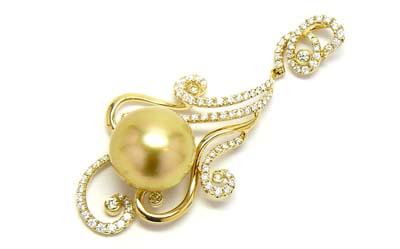 Golden Pearl Pendant Head