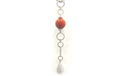 K18WG製珊瑚&ダイヤモンドネックレス