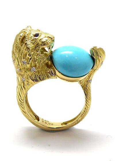 K18YG製トルコ石「ライオン」リング
